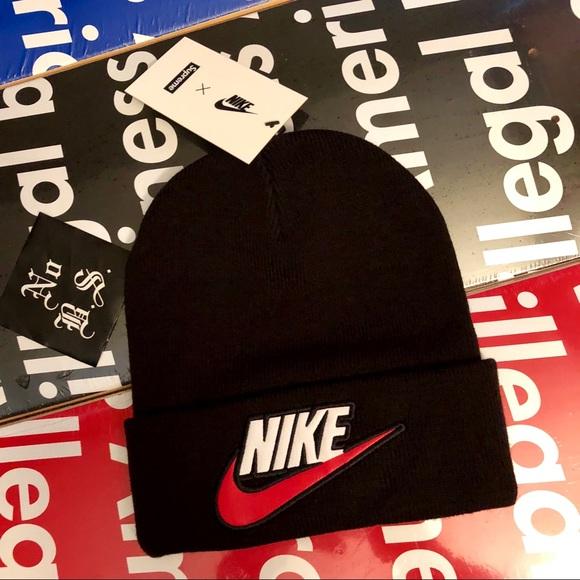 6d20cd795f1 Supreme X Nike Beanie Black new 100% Authentic